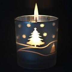 Idea Regalo - Imanom Candela natalizia profumata in barattolo, candela di soia, aroma alla torta di mele, antistress, argento Snowflake Candles