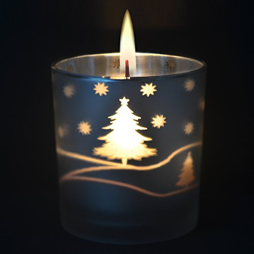 Imanom candela natalizia profumata in barattolo, candela di soia, aroma alla torta di mele, antistress, argento snowflake candles