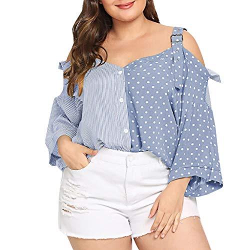 TOPQAQ Damen Sommer Kurz Bluse T Shirt Kalte Schulter Patchwork Dot Striped Gedruckt Tops Übergröße Oberteile Mode 2019 (Blau, XXX-Large) - Heritage Produkte Rose