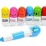 NaiseCore - 6 bolígrafos retráctiles con 6 emoticonos para pastillas de vitaminas con bolígrafo de cápsulas, regalo de Navidad (color al azar)