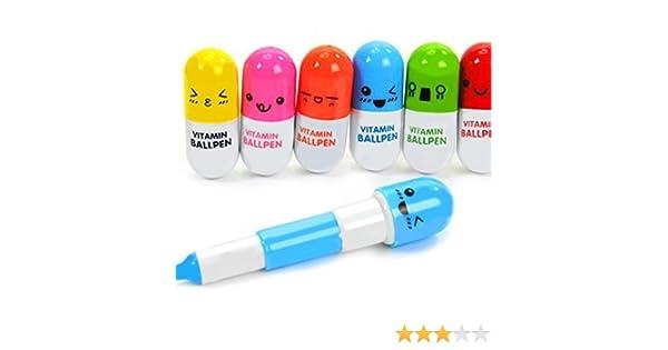 TuDu Lot de 6/mini r/étractable Vitamine Pilule Stylo avec six mignon avec /émotic/ône fantaisie Capsule Stylo bille drag/ées Cadeau couleur al/éatoire