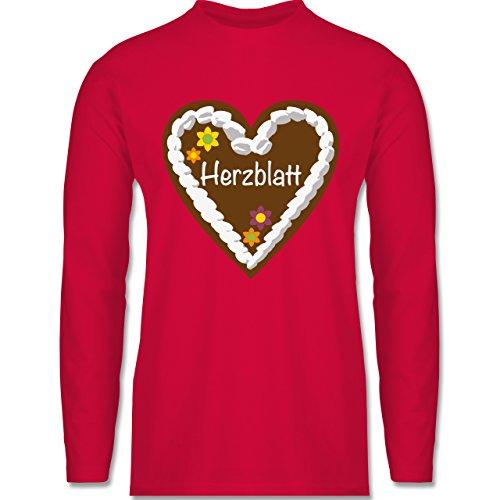 Oktoberfest Herren - Lebkuchenherz Herzblatt - Longsleeve / langärmeliges T-Shirt für Herren Rot