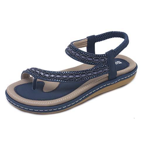 HAINE Frauen Boho Strass Flache Strand Schuhe Sommer Sandalen (Rosa 39EU)