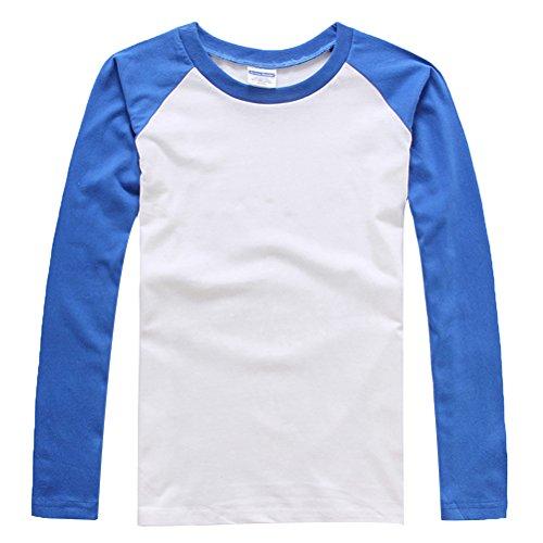 Baymate Unisex Maglia Maniche Lunghe Con Colore A Contrasto Zaffiro Blu