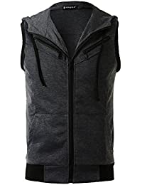 Sourcingmap Allegra K Men Kangaroo Pocket Zip Up Drawstring Hooded Vest