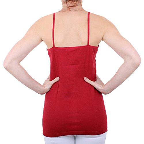 2er Pack Damen Hemd mit Spitze mit Spaghettiträger Nr. 356 Feinripp - Sehr gute Qualität ( Rot/Schwarz / 56/58 ) - 6