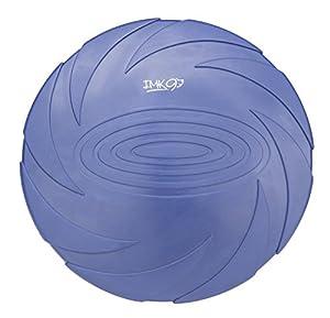 Frisbee pour Chien Petit et Moyen d'IMK9 | Jouet en Caoutchouc Naturel Souple et Robuste | Disque Aérodynamique pour Jeux, Sport, Exercice, Activité Plein Air | Couleur Bleue Bien Visible des Chiens
