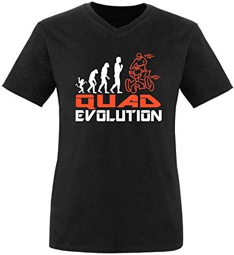 EZYshirt® Quad Evolution Herren V-Neck T-Shirt Schwarz/Weiss/Orange