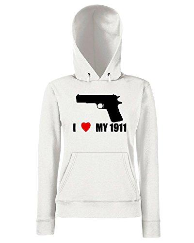 T-Shirtshock - Sweats a capuche Femme TLOVE0058 i love my 1911 back logo Blanc