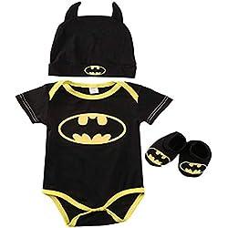 3 Unids Ropa Bebe Verano BEBšŠS RecišŠN Nacidos Bebe Ni?Os Batman Mamelucos Zapatos Trajes De Sombrero Ropa Set BEBšŠ Fresco Traje De Tela De Batman (Negra A, 80(6-12 Meses))
