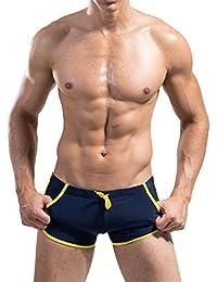 Zehui Swimming Trunks Fashion Boxer with Front Tie Men's Pants Swimwear DESMIIT Pattern
