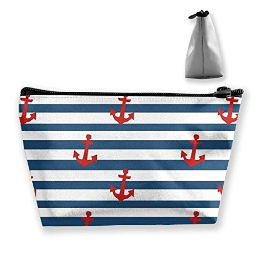 Anchor Blue Red Women Cosmetic Bags Portable Pouch Trapezoidal Storage Bag Travel Bag with Zipper