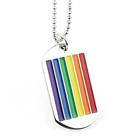 Beydodo Stainless Steel Pendant (Smooth Necklace) For Women Men Gay Lesbian LGBT Rainbow Colorful