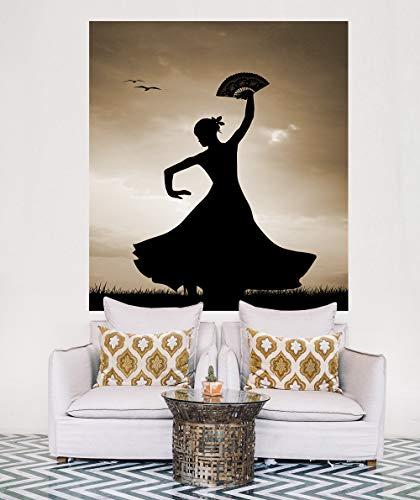 Bilderdepot24 Vlies Fototapete - Flamencotänzerin - sephia - Sepia - 178x200 cm - mit Kleister – Poster – Foto auf Tapete – Wandbild – Wandtapete – ()