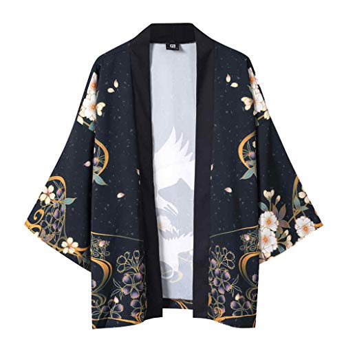 Top abrigo de abrigo, verano japonés Five Point Mangas Kimono Hombre y Mujer Capa Jacke Shirt Camisa...