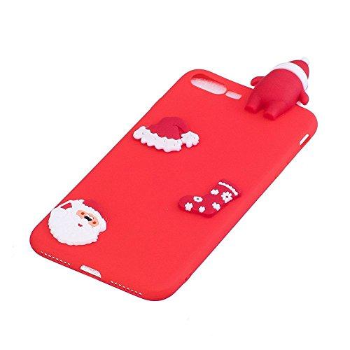 Cover iPhone 7 Plus Natale Santa Custodia Bello 3D Cartoon Sollievo Proiezioni Modello Cappello Calzini Natale Mottif Ultra Magro Sottile Silicone TPU Case Gomma Flexible Caso Colore Puro Fresco Caram Rosso Santa