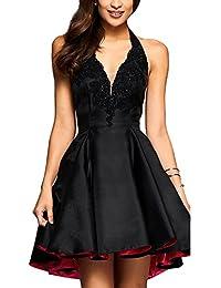 Vestido Corto de Mujer sin Espalda V Cuello Cóctel Vestido de Fiesta Vestido de Noche