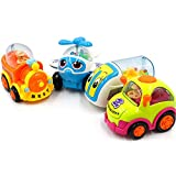 GRAPPLE DEALS Early Education Adorable Cute Bright Color Moving Parts Mini Mix Vehicle 1 Year Old Baby Push And Go Toy Unbreakable Friction Car For Kids.(Random Color)(8.5 X 6 X 5.5 Cm) (4 Pcs)