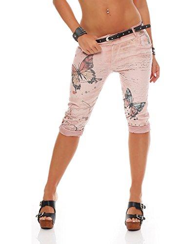 Zarmexx Damen Caprihose Boyfriend Baggy Hose Jeanshose Jeggings Butterfly Capri-Chinohose, Altrosa, XXL (44) Butterfly Capri-jeans