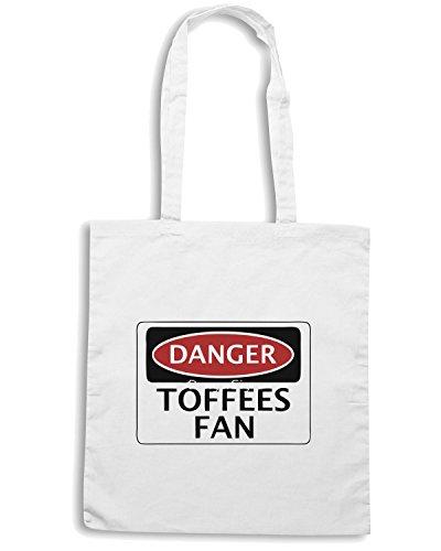 T-Shirtshock - Borsa Shopping WC0292 DANGER EVERTON, TOFFEES FAN, FOOTBALL FUNNY FAKE SAFETY SIGN Bianco