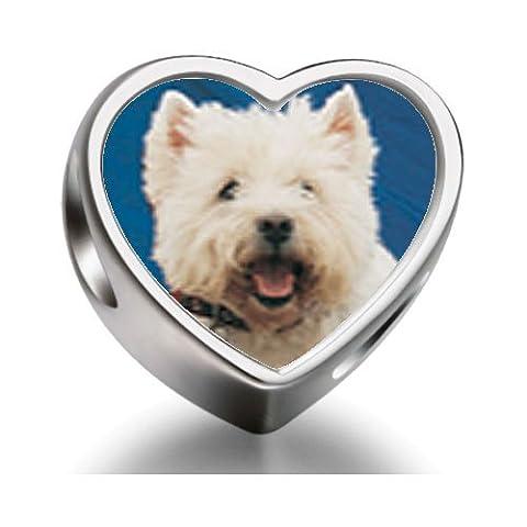 West Highland Terrier Heart Photo Charm Beads Fit Pandora Chamilia Biagi beads Charms Bracelet