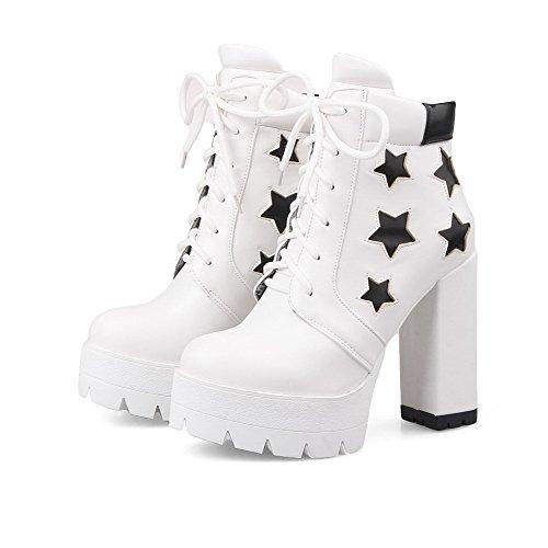 AllhqFashion Damen Gemischte Farbe Hoher Absatz Rund Zehe Pu Schnüren Stiefel Weiß