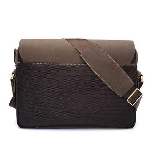 UUstar® Herren Schultasche umhängetasche herren schultertasche Canvas PU Leder retro messenger bag Ideal für Büro, Studium Reise oder Freizeit Outdoor Braun - 1