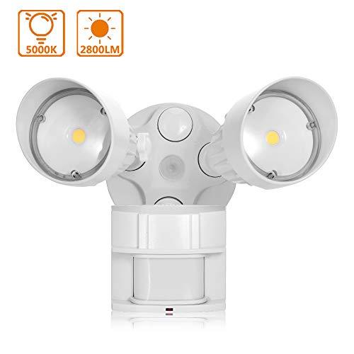 Lampada Sicurezza Esterno Sensore Movimento (Distanza Regolabile e Tempo di Illuminazione),Lacyie 36W LED Luce Esterno a Doppia Testa Impermeabile IP65 Luci da Parete per Garage,Giardino,Patio