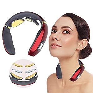 ROOTOK Nackenmassagegerät,massagegerät Nacken,Intelligentes Nackenmassagegerät, Elektrisches Nackenmassagegerät mit Heizfunktion Elektrisches Puls-Nackenmassagegerät