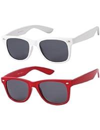 Lot de 2 Paires de lunettes de soleil style Wayfarer - Geek Retro Vintage 80's - Monture Coloris Blanc + Rouge - Verres Noirs - Fashion Tendance