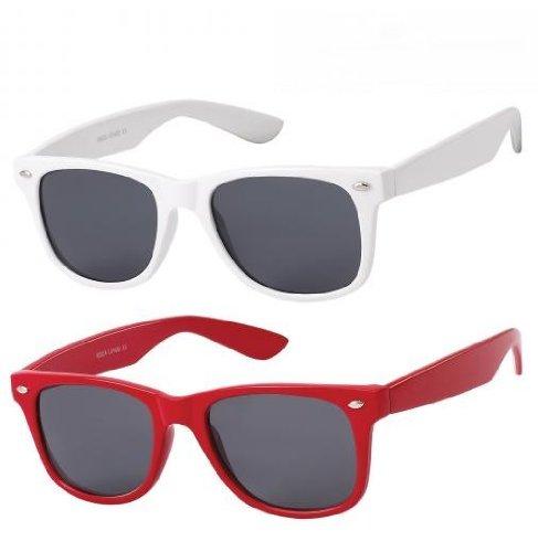Lot de 3 paires de lunettes de soleil style Wayfarer geek retro vintage 80's - Noir + Rouge + Blanc - Verre noir - Fashion tendance sHbF6D0n