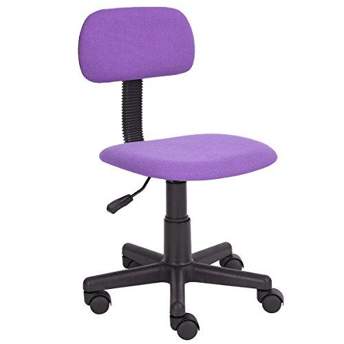 Furniturer - sedia da scrivania, per lavorare al computer in casa e in ufficio, con schienale intermedio, regolabile, con rotelle, ideale per lo studio dei bambini viola purple