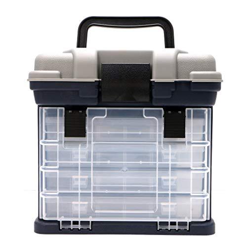 Lzdingli Tragbare Box Utility Tool Box Organizer-Koffer mit 5-lagigen Schubladen und verstellbaren Trennwänden, Angelgerätebox Outdoos -