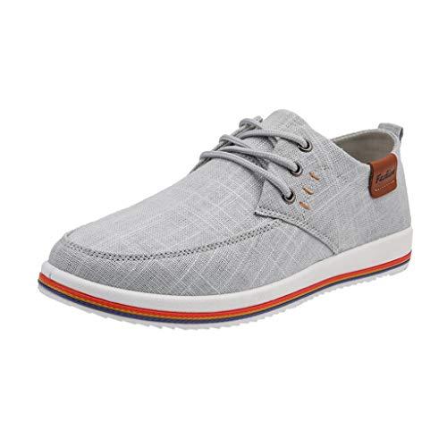 Canvas Freizeitschuhe für Herren/Skxinn Männer Business Halbschuhe Schnürhalbschuhe Casual Sneaker Ausverkauf(Z1-Grau,45 EU)