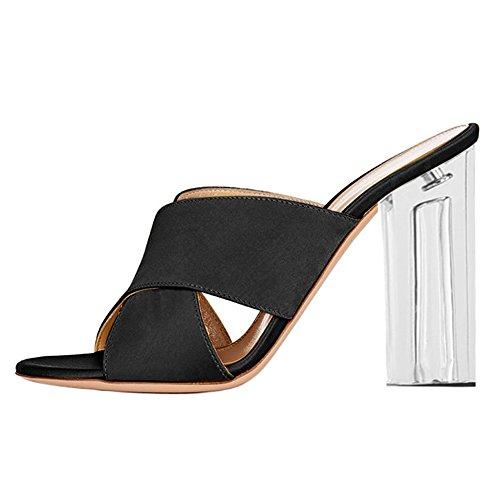 Damen Peep Toe Satin Sandalen High-Heels Transparent Blockabsatz Slingback Schwarz