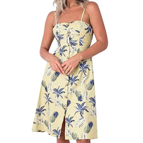 LILIHOT Frauen Frühling und Sommer Mode Casual Printing Bohemian Female Dress Sommerkleid Damen Kurz Schulterfrei Ärmel Blumenmuster Strandkleid Floral Shirt Minikleid -