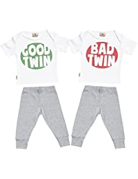 SR - Good & Bad Twin Baby T-Shirt & Baby Jersey Trousers Twins Outfit Set
