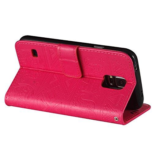 Für Samsung Galaxy S5 Premium Leder Schutzhülle, weiche PU / TPU geprägte Textur Horizontale Flip Stand Case Cover mit Lanyard & Card Bargeldhalter ( Color : Pink ) Red