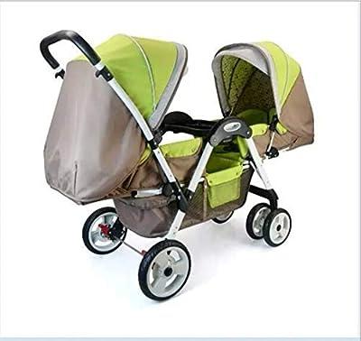 QZX Cochecito Doble Baby Pram Tandem Newborn Buggy Sillón con Respaldo Ajustable y reposapiés Sistema de Seguridad de 5 Puntos, fácil de Plegar