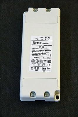 TCI Saronno ITALY EF 60 Elektronischer Trafo Halogen Transformator 230V -> 12V 20-60W Überlastungsschutz und Temperatursicherung
