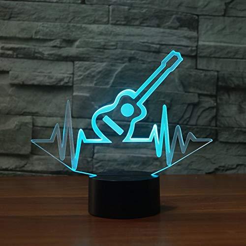 HNXDP 3D LED Lámpara noche creativa Modelo guitarra