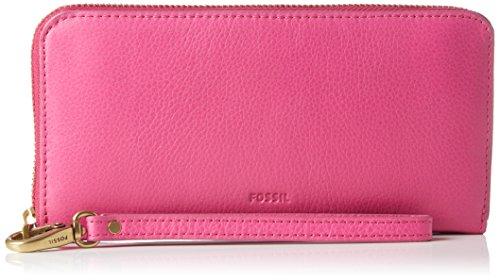 Fossil Damen Emma Geldbörse, Pink (Hot Pink), 2.54x10.16x20.32 cm (Rosa Hot Leder Schuhe)