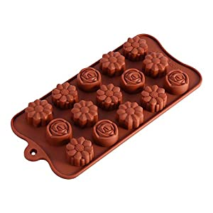 Molde chocolate silicona 15rosas molde-Bandeja