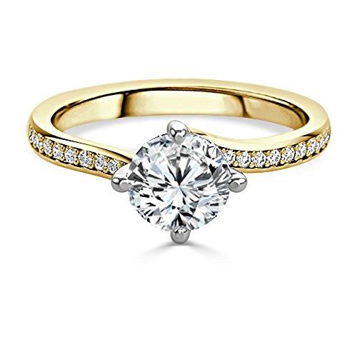 1,20ct Runde Schnitt Diamant Engagement Hochzeit Ring 14K Solid Gelb Gold Größe I, J, K L M N O P Q R S T