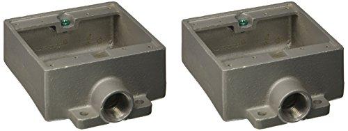 Killark 2FS-2 Cast Device Box, Shallow, Copper-Free Aluminum, 3/4 Hub, 2 Gang, Standard by Killark (Cast Hub)