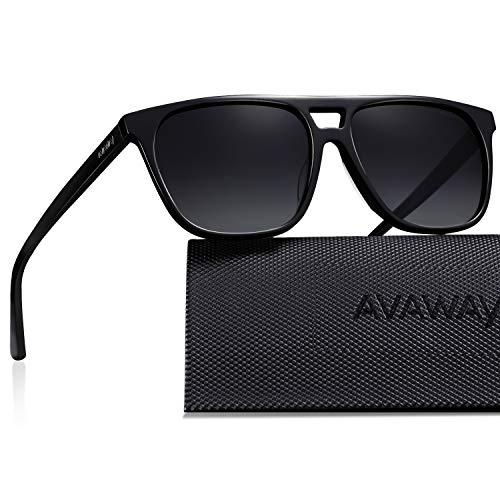 AVAWAY Retro Polarisierte Herren Sonnenbrille UV400 Sonnenbrille Fahrenbrille mit Acetat Rahmen