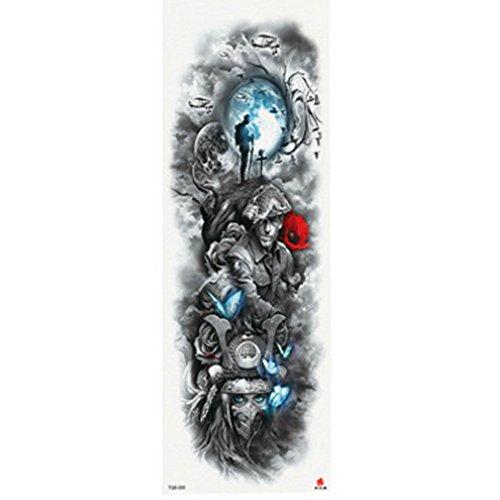Mode temporäre Tattoo, voller Arm Körper temporäre wasserdichte Tattoo Aufkleber Aufkleber für Mann & Frauen (Typ D)