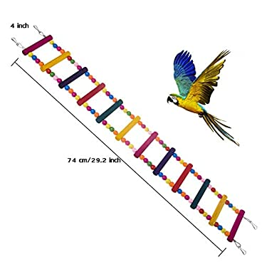 MEISO 74 * 10CM Bird Toys for Parrot Ladder,Swing,Trainning Rainbow Bridge for Parrots African Grey Parakeets Conures Cockatiels Cokatoo Lovebirds