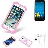 K-S-Trade® Bumper + Kopfhörer Für Vestel 5000 Dual-SIM Handyhülle Schutzhülle Silikon Schutz Hülle Cover Case Silikoncase Silikonbumper TPU Softcase Smartphone, Pink (1x)