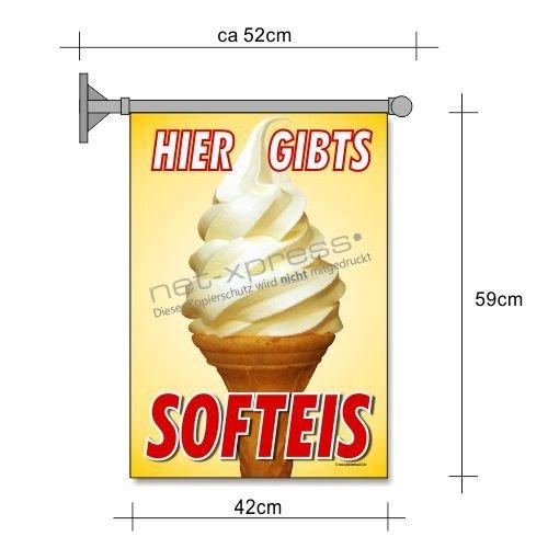 net-xpress Softeis-Fahne für Softeis-Werbung A2 EIS Reklame Plakat (Werbung Plakat)